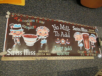 SWISS MISS 1950s instant cocoa hot chocolate drink mix store display sign poster