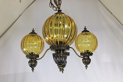 Vintage 3 Light Chandelier Amber Glass Globes Antique Brass Hollywood Regency