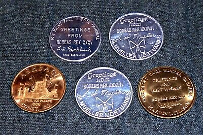 Lot of 5 St Paul Winter Carnival, Minnesota Vintage Trade Tokens