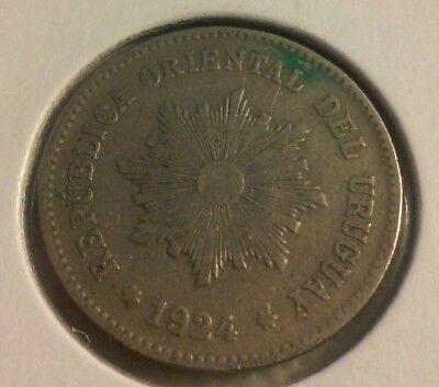 1924 Uruguay 5 Centesimos Coin  - Sharp details  (#NOV021)
