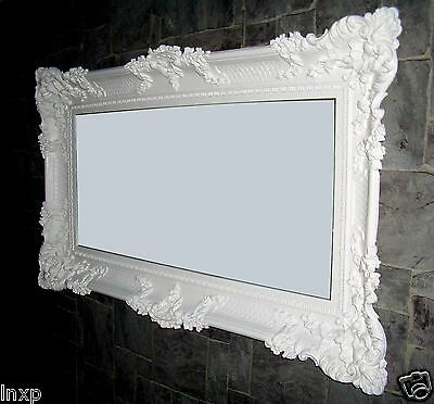 Baroque Wall Mirror White 96x57 Antique Rococo Luxurious Bathroom Deco WOW