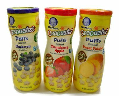 Gerber Graduates Puffs Cereal Snack Variety Pack - Blueberry, Strawberry-Apple,