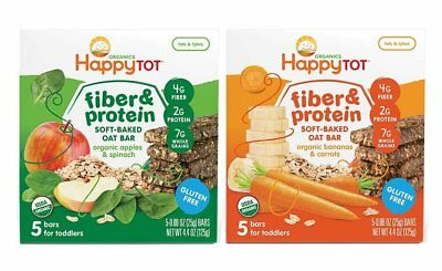 Happy Baby Tot Fiber and Protein Organic Soft-Baked Oat Bar Bundle: 1 Box of & 1