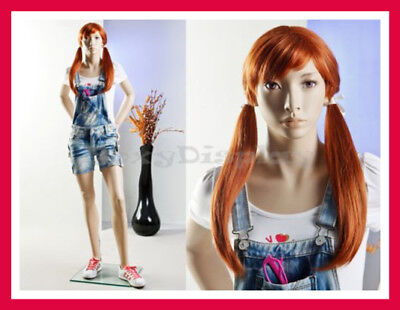 Realistic Teen Girl Full Body Female Standing Pose Fiberglass Mannequin + Base
