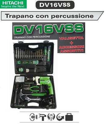 Hitachi Dv16Vss Trapano Con Percussione W600 Con Set 100 Accessori Assortiti