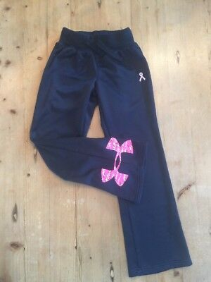 Girl's Under Armour Black Power In Pink Sweat Pants Youth Small YSM SM EUC!