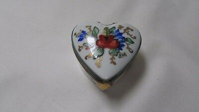 Limoges Decor Main Heart Trinket Box with Flowers France