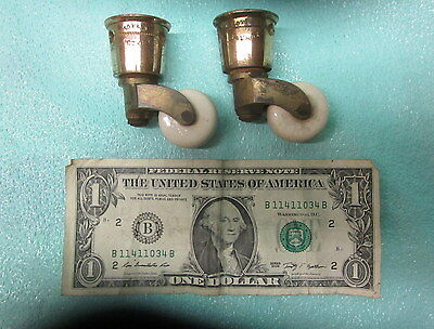Pair of Cope's Brass With Porcelain Wheel Furniture Piano Castors Regency Period