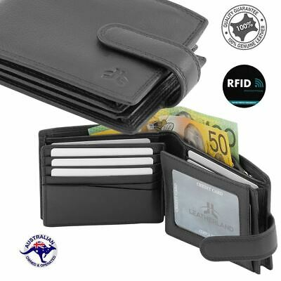 Men's Genuine Cowhide Premium Soft Leather RFID 26 Cards Large Wallet New Blac