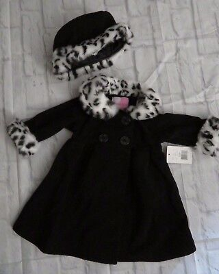 Winter Coat & Hat Baby Girl Size 12 Months Toddler Faux Fur Trim Sofia Rose NWT