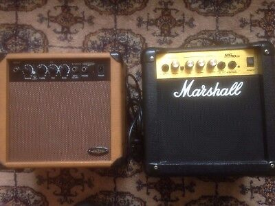 Marshall MG10CD Electric and G2 10AA Acoustic guitar practice amplifiers