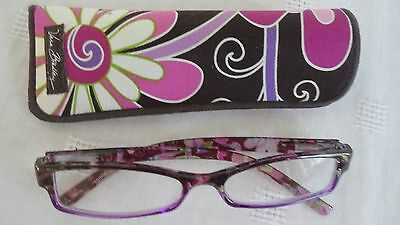 Vera Bradley Readers Glasses +2.50 & Matching Case Purple Punch pink, brown, whi