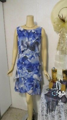 Mother Of The Bride Dress by S.L. Fashions-Size 14-Blue Floral Shutter Dress