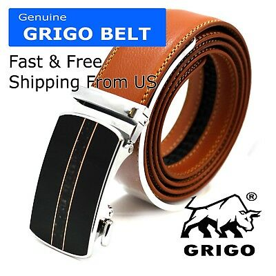 Men's Designer Tan Leather Dress Belt Sliding Ratchet Automatic Click Buckle