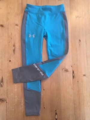 Girl's Under Armour Cold Gear Pants Leggings Teal Gray Youth Extra Small YXS EUC