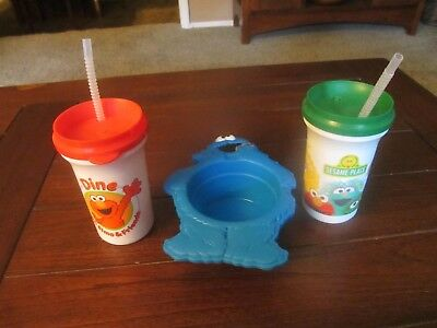 2 Sesame Street Plastic Cups & 1 Bowl - NEW
