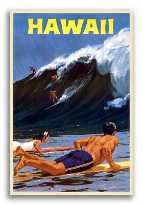 1950s Hawaii Surfing Vintage Style Travel Poster - Big Wave Surfing - 16x24