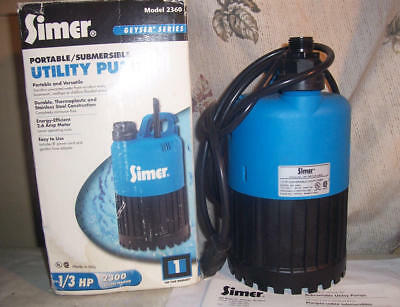 Simer Sumersible Utility Pump 1/3 Hp 2300 Gallons Hour Model 2360 Box Instuction