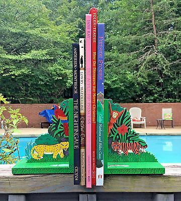 Jungle Animal Handpainted Vivid Colored Wood Child Room Nursery Bookends