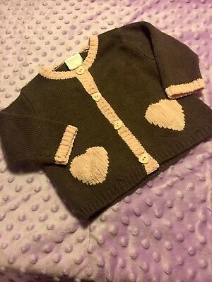 Baby Girls Size 6-9 Months Nannette Light Sweater Cardigan Button Up Hearts