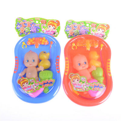 Baby Doll in Bath Tub With Shower Accessories Set Kids Pretend Role Play Toy HC