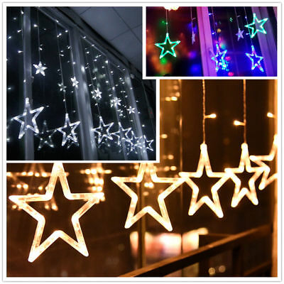 led lichterkette stern lichtervorhang fenster baum weihnachtsdeko balkon lichter eur 16 99. Black Bedroom Furniture Sets. Home Design Ideas