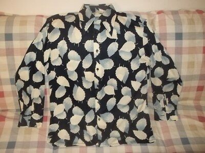 Vtg SEARS KINGS ROAD ABSTRACT LEAVES ART POLYESTER DISCO BUTTON FRONT SHIRT XL