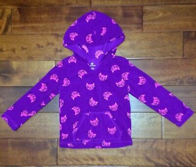 Girls OKIE DOKIE Purple Pull Over Fleece Hoodie Hooded Shirt Pink Cat Size 5T