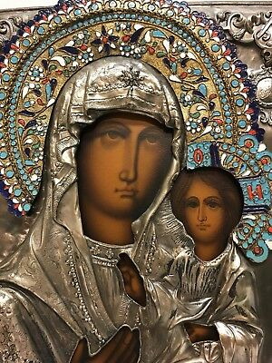 19th Century Antique Russian Icon of Mother of God