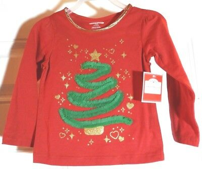 Girls Size 2T Christmas Tree Red T-Shirt * Holiday Time * New