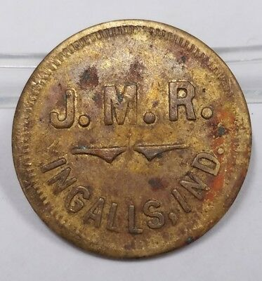 J.M.R. Ingalls, IN Indiana Good For 1 Loaf Bread Brass Trade Token Unlisted