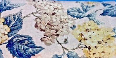 """Linen  Floral Fabric Hydrangea Shabby Chic 3+Yds 58"""" Wide Muted Colors Sew"""