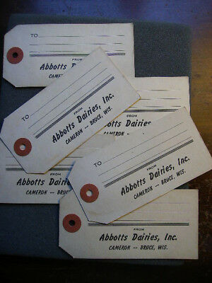 Abbotts Dairies Cameron & Bruce Wi Six Milk Can Or Milk Crate Shipping Tags