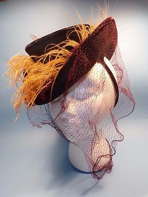 Adorable 1940's Wool Felt Tilt Hat- Feathers - AS IS