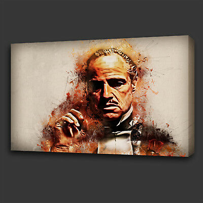 Iconic Film Godfather Grunge Design Wall Art Canvas Print Picture Ready To Hang