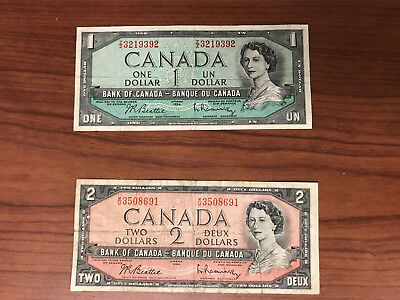 1954 Canadian One & Two Dollar Bills - Banknote Bank of Canada