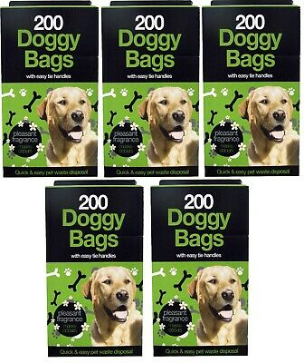 1000 Doggy Bags Scented Dog Poo Waste Tie Handles Strong Large Pooper Scooper