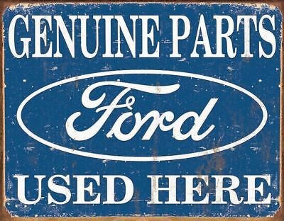 Ford Genuine Parts Used Here  Vintage Retro Distressed Metal Sign 16x12.5 FoMoCo