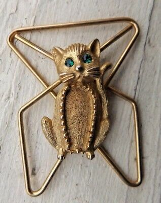 Vintage Costume Jewelry Paperclip Cat Rhinestone Emerald Eyes *Christmas Gift