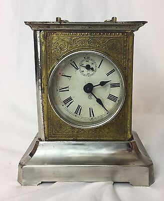 Antique German Badische Carriage Mantle Clock Chime, Original Key, PARTS RESTORE