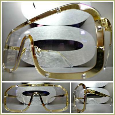 OVERSIZED VINTAGE 70s RETRO Style Clear Flat Lens EYE GLASSES Gold Fashion Frame