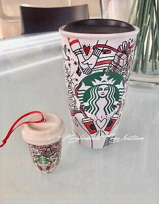 Starbucks 2017 CHRISTMAS Holiday Traveler Tumbler Mug Coffee Cup  Plus Ornament