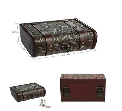 Wooden Jewelry Box Storage vintage small Treasure Chest Wood Case Crate Gift NEW