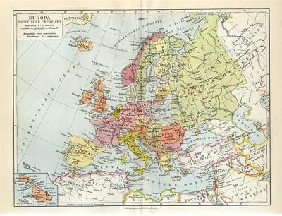 1920s EUROPE POLITICAL MAP GERMANY FRANCE POLAND RUSSIA TURKEY Antique Map Meyer
