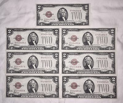7 Crisp 1928 F Series $2 Red Seal United States Notes Large Two Similar Serial #