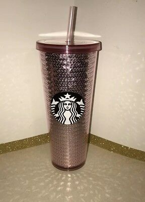 Starbucks 2017 Holiday Pink Sequin Glitter Cold Tumbler Cup *NEW*