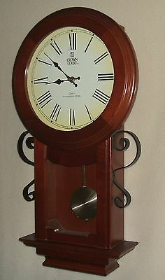 Crown Court Mahogany Wall Clock with Metal Sidearms and Westminster Chimes