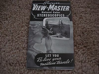 Sawyer's View Master Natural Color Stereoscopics Flyer - Subject Library List