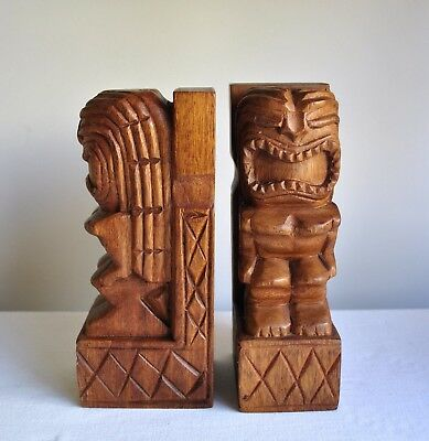 Vintage RETRO Carved Timber TIKI God Bookends Hawaii Tiki Bar 1970's