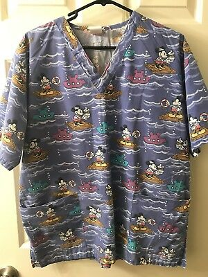 Disney Mickey Minnie Mouse Purple Raft Submarine Scrub Top Women's Size Medium